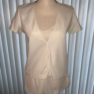 Theory Cream Shirt with Silk Camisole